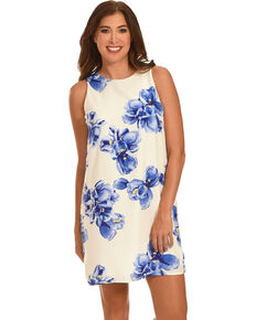 Ces Femme Women's Blue Floral Shift Dress , Blue, hi-res