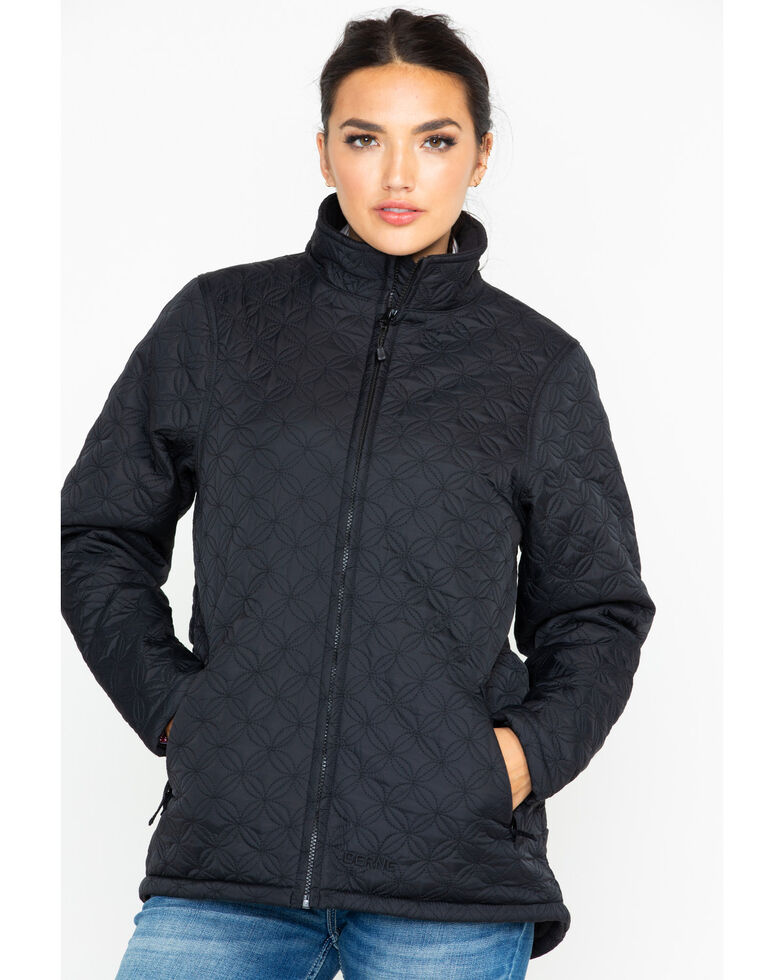 Berne Women's Nylon Quilted Trek Work Jacket, Black, hi-res