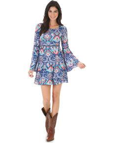 Wrangler Women's Rock 47 Pattern Bell Sleeve Dress , Navy, hi-res
