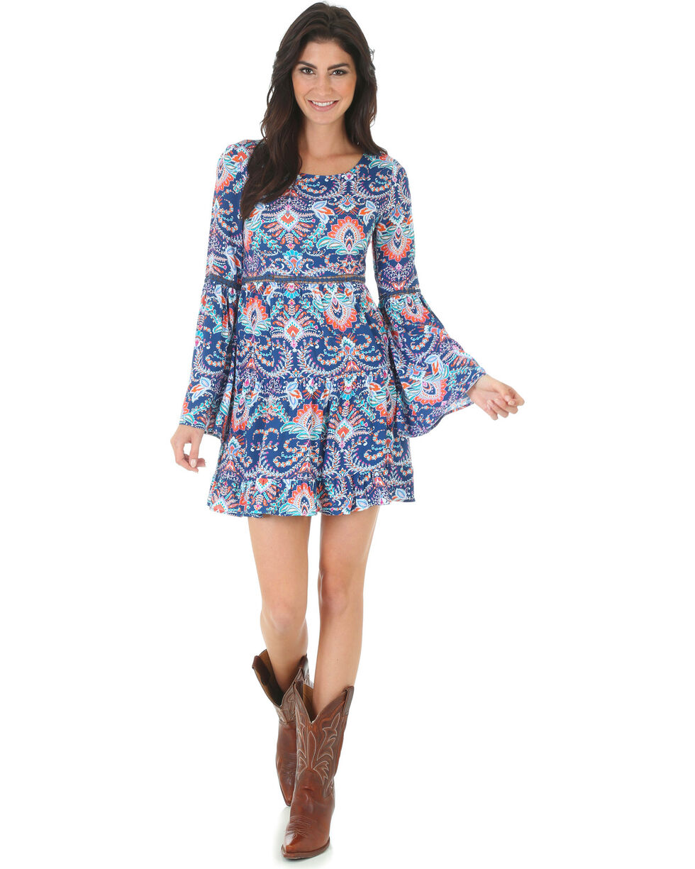 Wrangler Women's Rock 47 Pattern Bell Sleeve Dress , Navy, hi-res