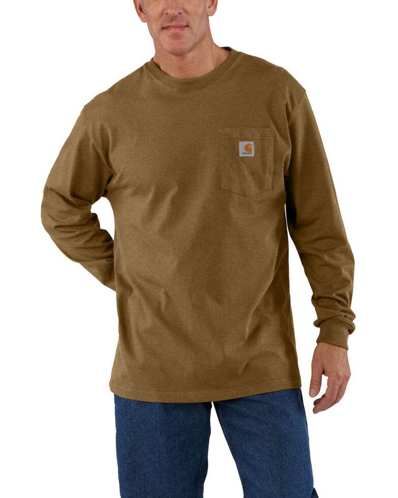 Carhartt Men's Pocket Long Sleeve Work Shirt - Tall, Brown, hi-res