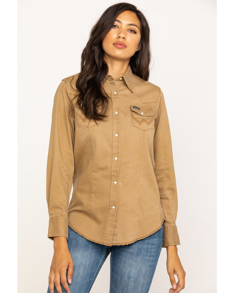 Wrangler Women's Tan Long Sleeve Western Shirt, Tan, hi-res