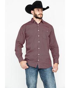 Resistol Men's Ten Sleep Geo Print Long Sleeve Western Shirt , Pink, hi-res