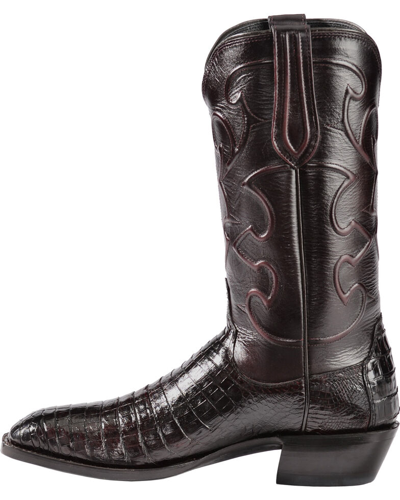 Lucchese Men's Charles Square Toe Crocodile Western Boots, Black Cherry, hi-res
