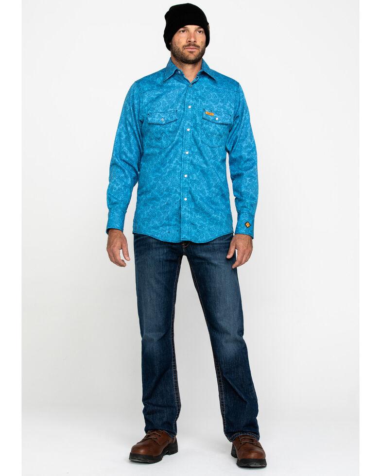 Wrangler Men's Blue Paisley FR Lightweight Work Shirt , Blue, hi-res