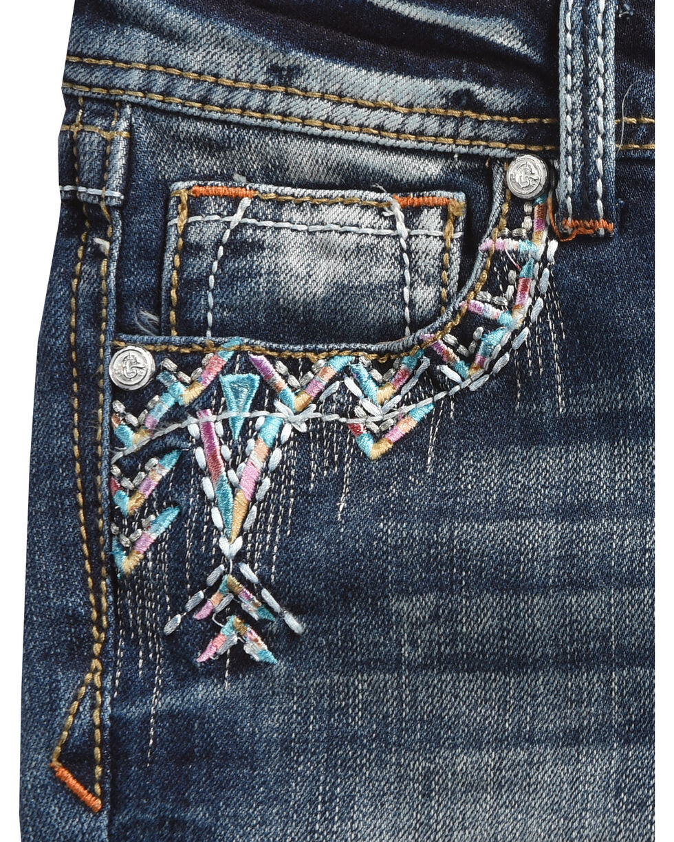 Grace in LA Girls' (7-16) Nellie Embroidered Pocket Jeans - Skinny  , Indigo, hi-res