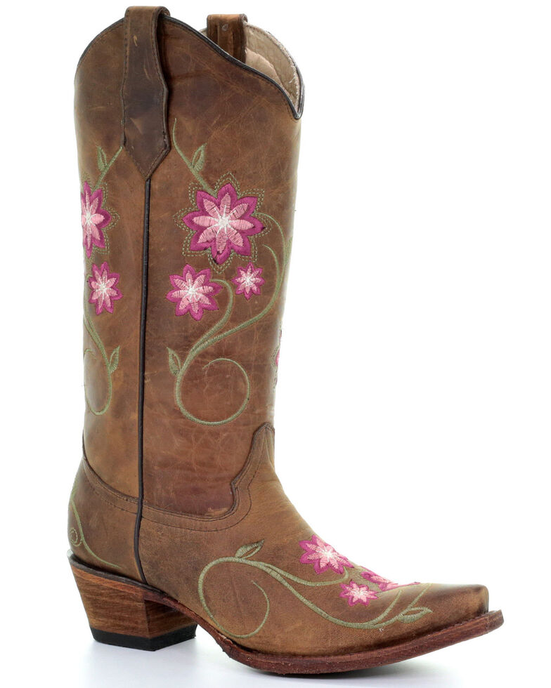 Circle G Women's Floral Embroidery Western Boots - Snip Toe, Tan, hi-res