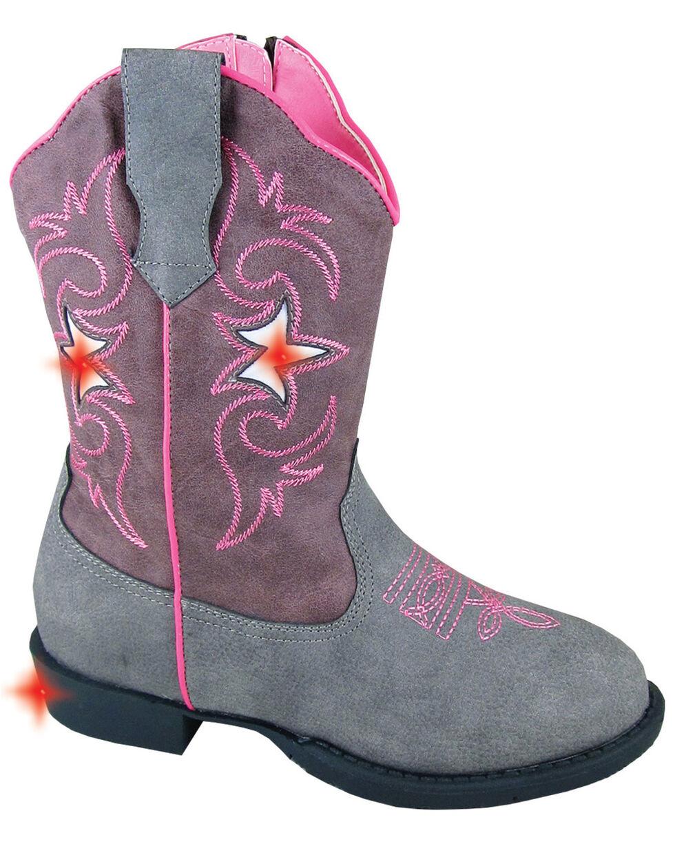 Smoky Mountain Toddler Girls' Austin Lights Western Boots - Round Toe, Grey, hi-res