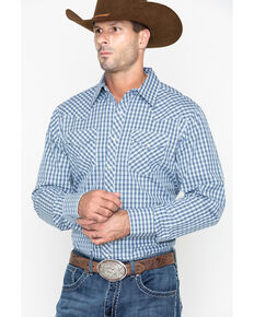 Roper Men's Original Rugged Check Plaid Long Sleeve Western Shirt , Blue, hi-res