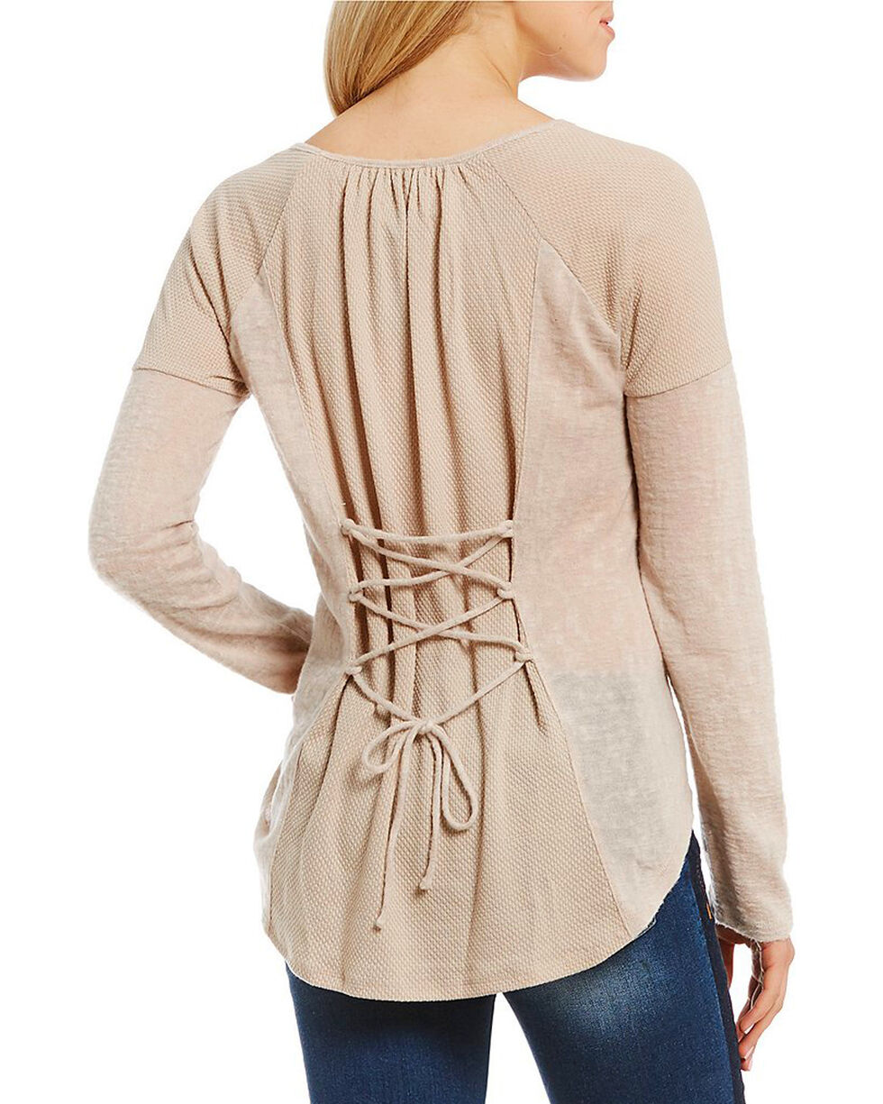 Miss Me Women's Lace Up Back Raglan Top, Beige/khaki, hi-res