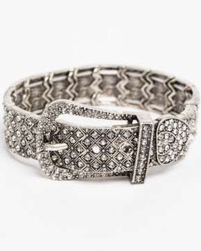 Shyanne Women's Crystal Cross Rhinestone Buckle Stretch Bracelet, Silver, hi-res
