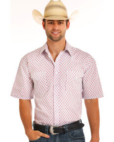 Rough Stock by Panhandle Men's Diamond Print Short Sleeve Shirt, White, hi-res
