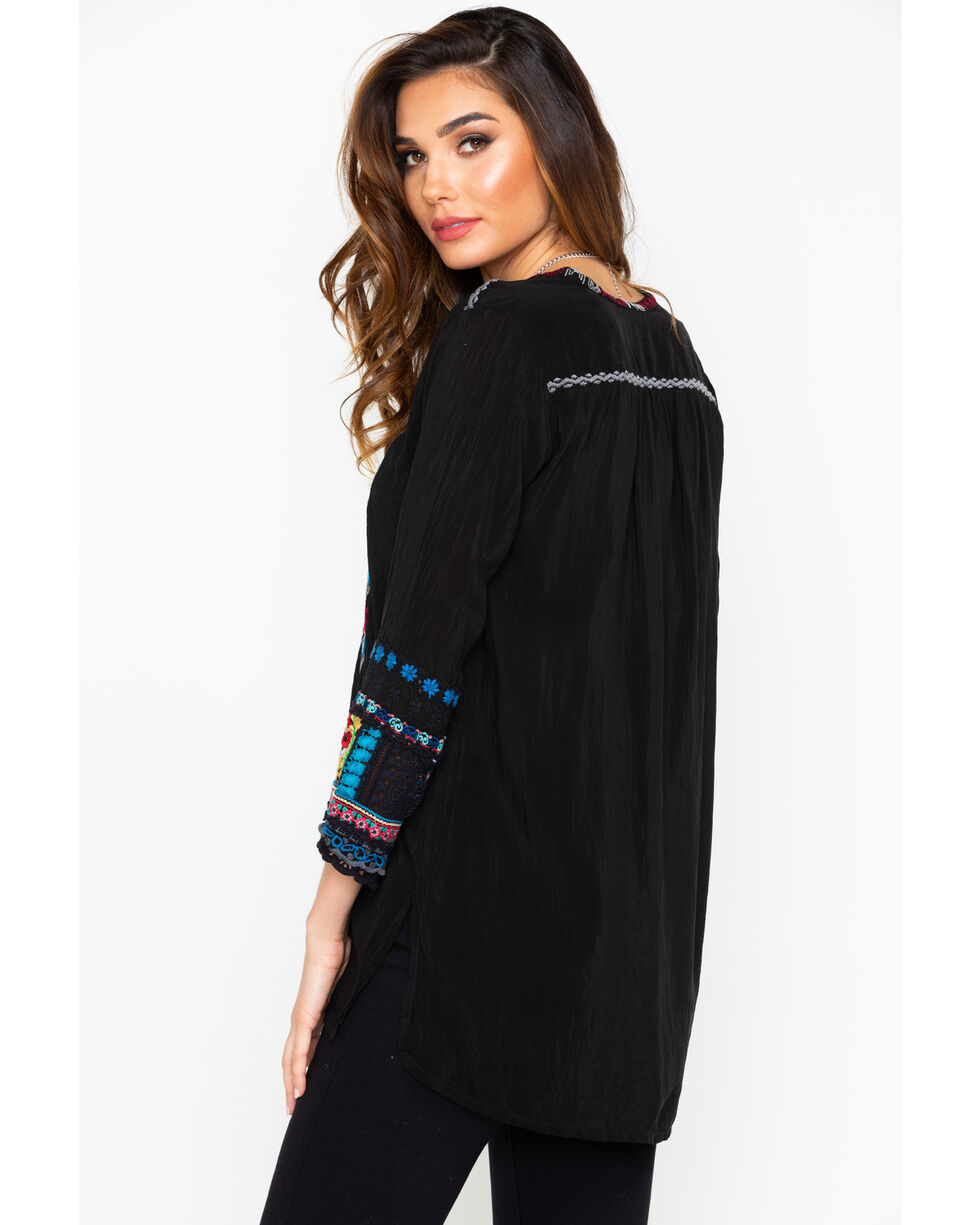 Johnny Was Women's Swirl Patchwork Tunic , Black, hi-res
