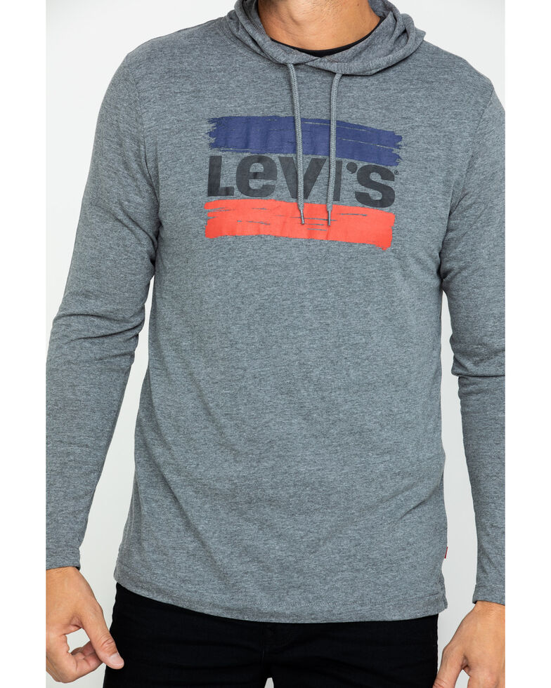 Levis Men's Evans Logo Graphic Hooded Sweatshirt , Grey, hi-res