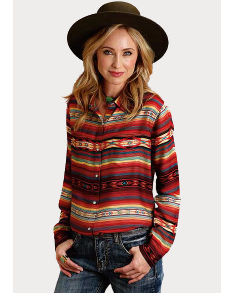 Stetson Women's Serape Print Snap Long Sleeve Shirt , Multi, hi-res