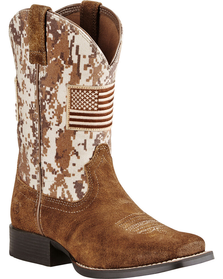 Ariat Boys' Brown Patriot Boots - Wide Square Toe , Brown, hi-res