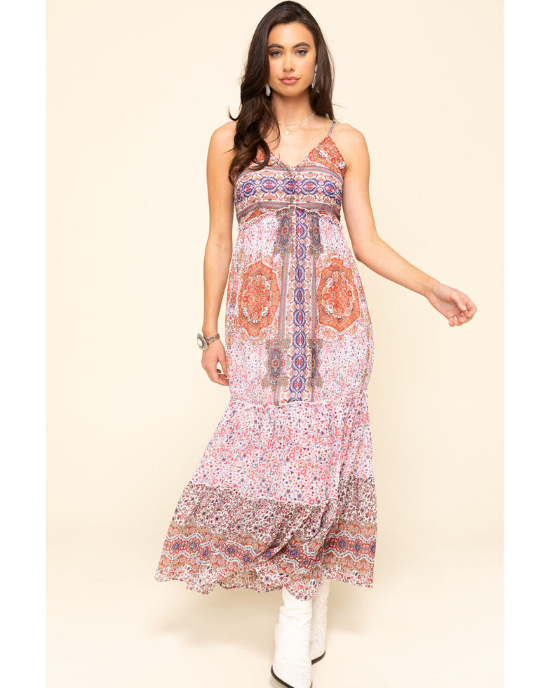 Wrangler Women's Tile Print Lace Up Tiered Maxi Dress , Rust Copper, hi-res
