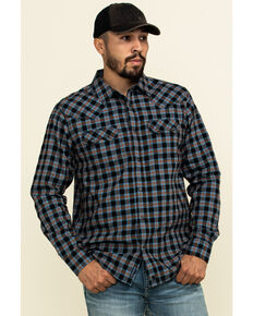 Moonshine Spirit Men's Train Track Check Plaid Long Sleeve Western Shirt , Black, hi-res