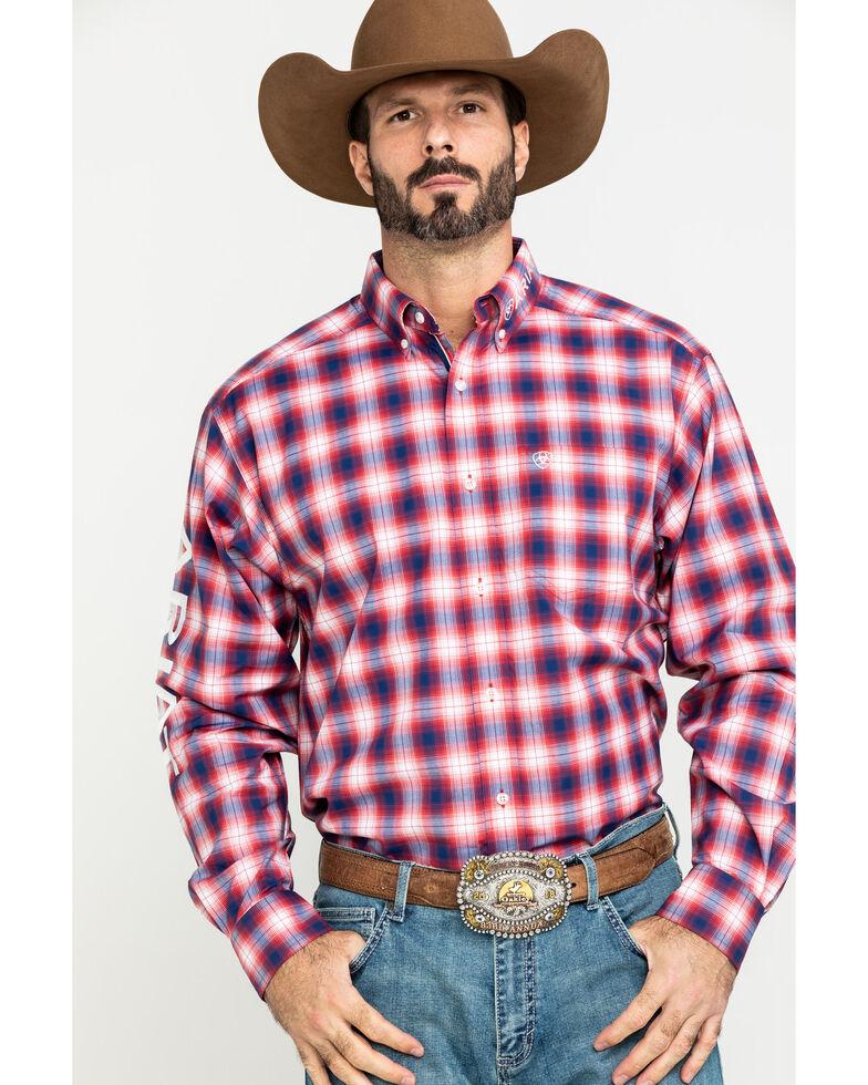 Ariat Men's Caleb Team Multi Plaid Logo Long Sleeve Western Shirt , Multi, hi-res