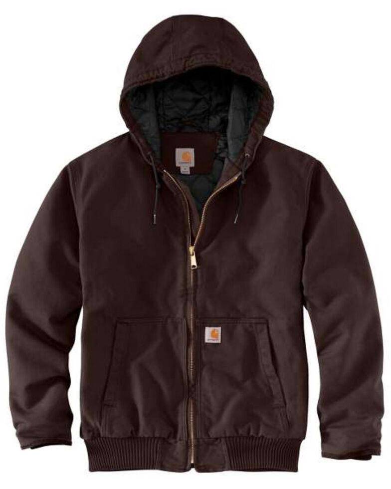 Carhartt Men's Dark Brown Washed Duck Active Hooded Work Jacket - Big , , hi-res