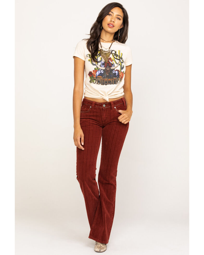 Rock & Roll Cowgirl Women's Red Corduroy Flare Jeans, Red, hi-res