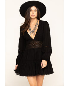 Free People Women's Delightful Mini Dress, Black, hi-res