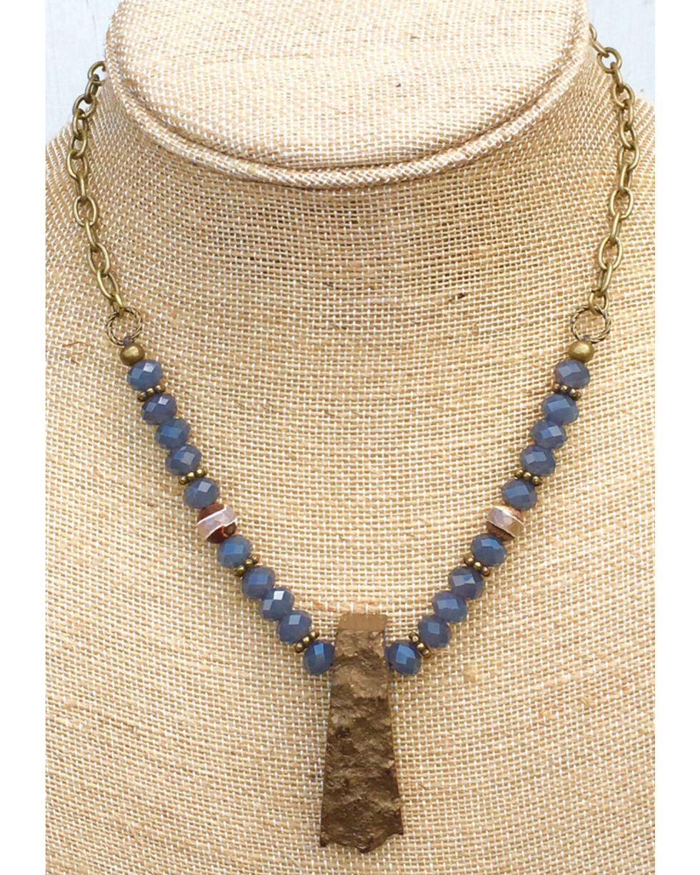 InspireDesigns Women's Blue Beaded and Forged Rock Necklace , Blue, hi-res
