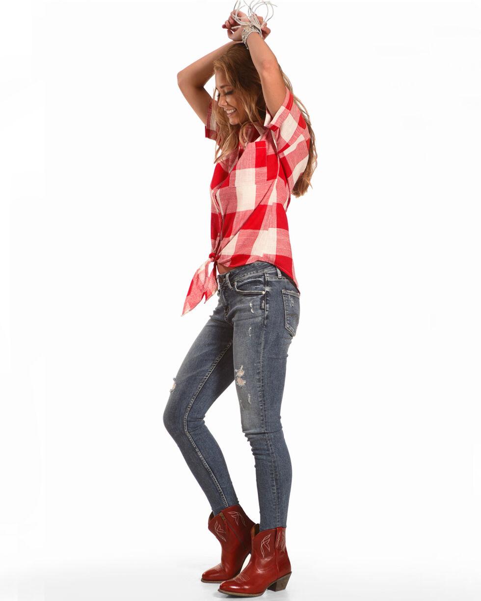 Polagram Women's Plaid Tie Front Short Sleeve Shirt, Red, hi-res