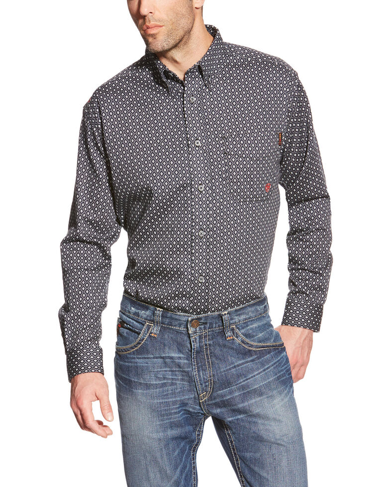 Ariat Men's Tyler Floulard FR Print Long Sleeve Work Shirt - Big , Black, hi-res