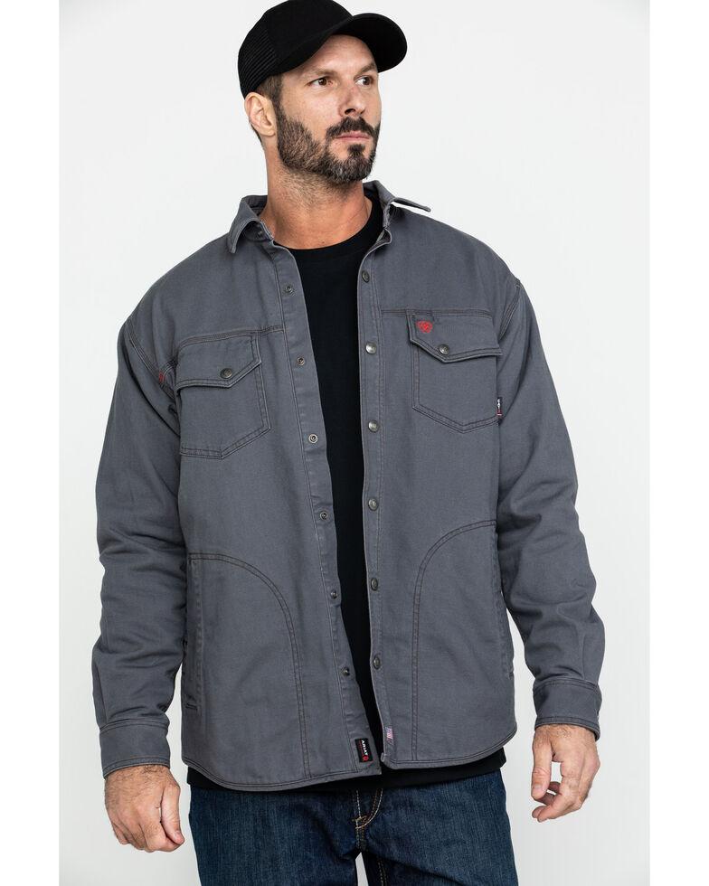 Ariat Men's Grey FR Rig Shirt Work Jacket - Big , Grey, hi-res