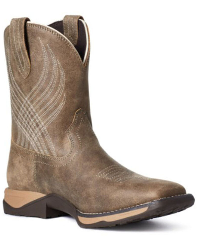 Ariat Boys' Anthem Western Boots - Wide Square Toe, Brown, hi-res
