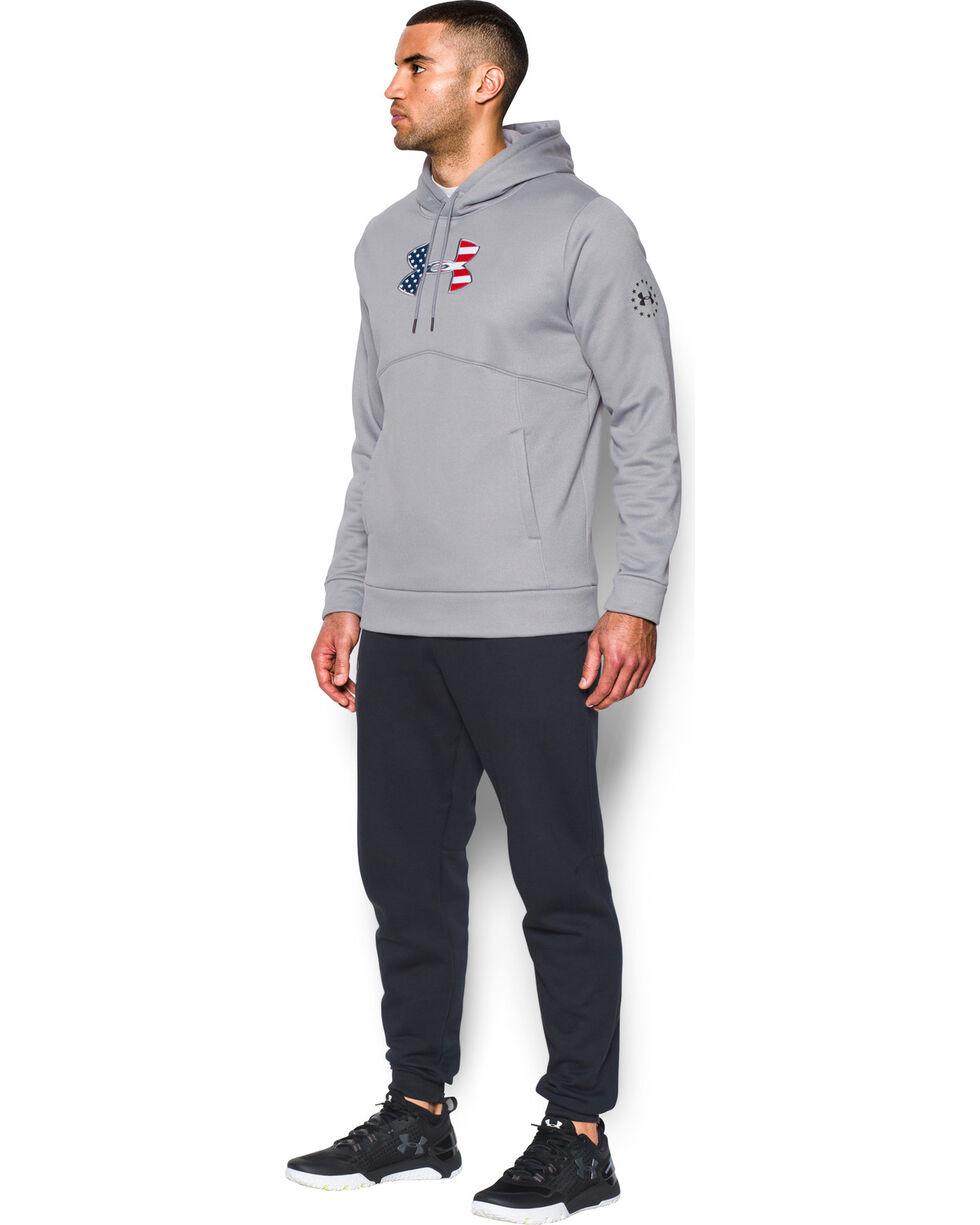 Under Armour Men's Grey Big Flag Logo Icon Hoodie, Grey, hi-res