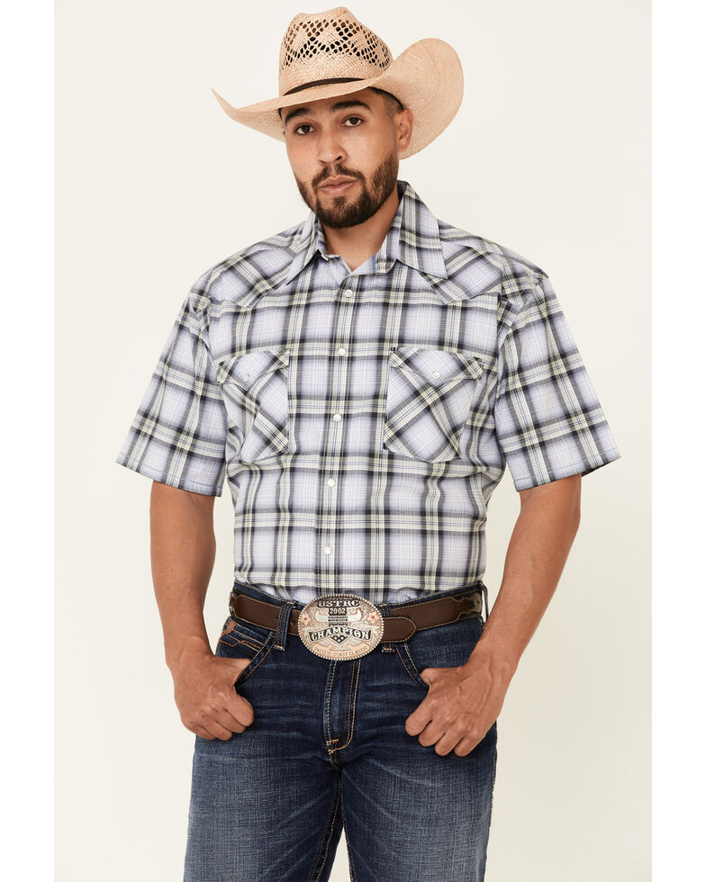 Rough Stock By Panhandle Men's Blue Large Dobby Plaid Short Sleeve Snap Western Shirt , Blue, hi-res