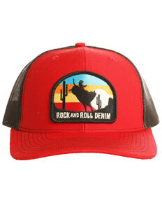 Rock & Roll Cowboy Men's Bull Rider Sunset Ball Cap, Red, hi-res