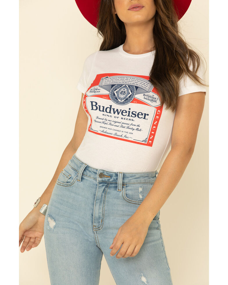 Brew City Beer Gear Women's White Budweiser Label Graphic Tee, White, hi-res