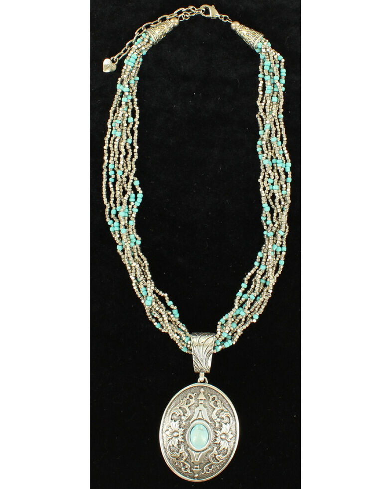 Blazin Roxx Turquoise Bead Oval Pendant Necklace, Silver, hi-res