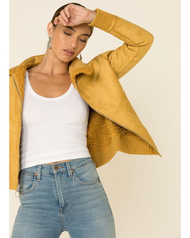 Angie Women's Mustard Zip Front Sherpa Lined Jacket , Mustard, hi-res