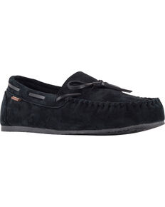 Lamo Men's Aiden Suede Lace Moccasins - Moc Toe, Black, hi-res