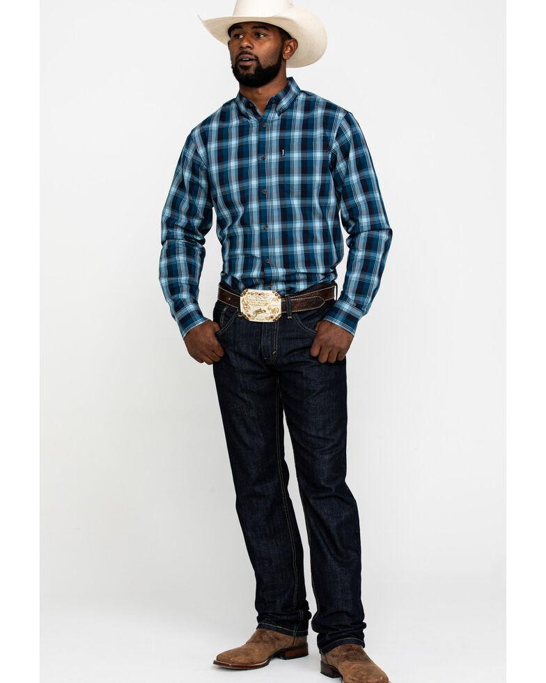 Dickies Men's Plaid Woven Long Sleeve Button Work Shirt , Blue, hi-res