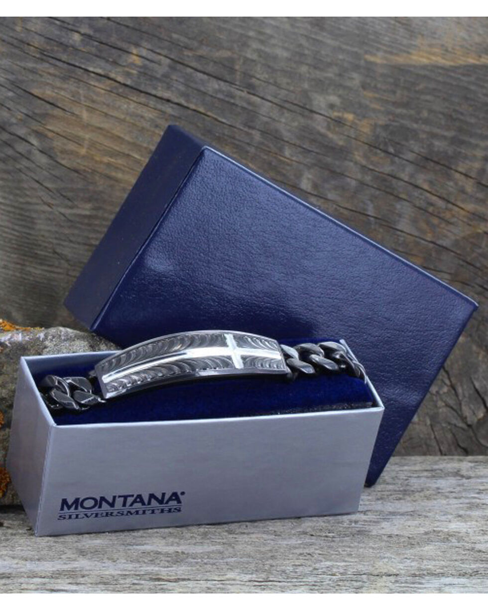 Montana Silversmiths Night's Shield of Faith Cross Cuban Link Bracelet , Silver, hi-res