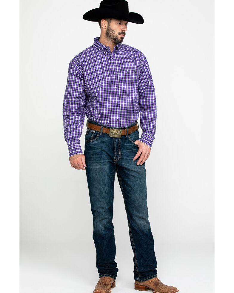 George Strait By Wrangler Men's Multi Plaid Long Sleeve Western Shirt , Black/purple, hi-res