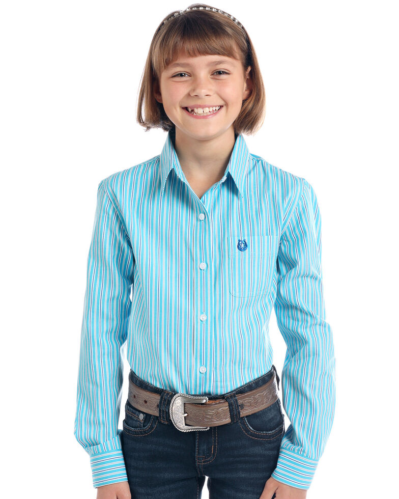 Rough Stock By Panhandle Girls' Turquoise Striped Print Long Sleeve Western Shirt , Turquoise, hi-res