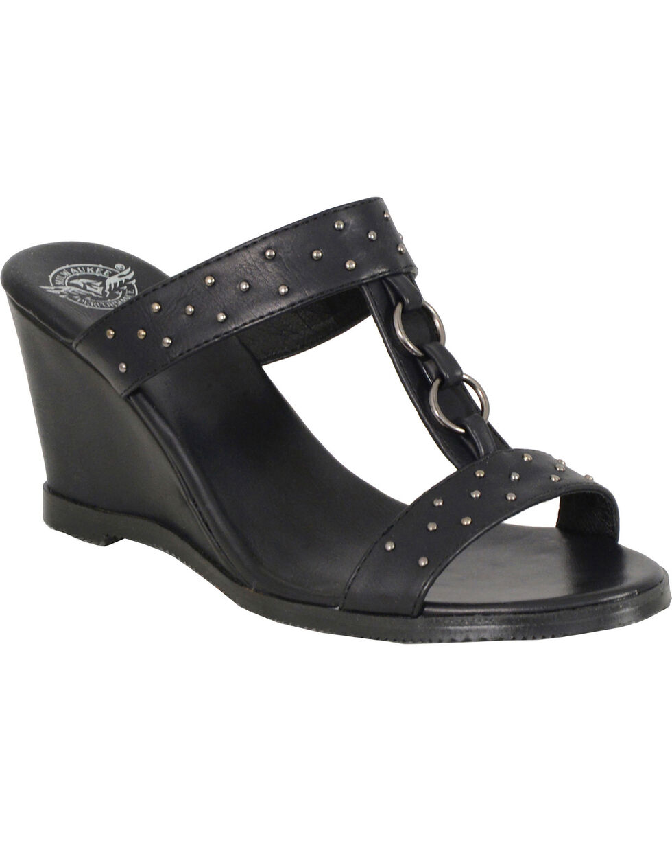 Milwaukee Leather Women's Studded Double Strap Wedge Sandals , Black, hi-res