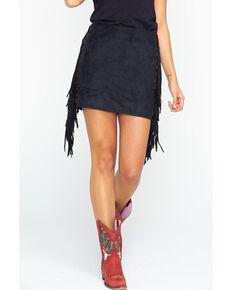 Tasha Polizzi Women's Black Fringe Valley Mini Skirt, Black, hi-res