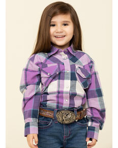 Shyanne Toddler Girls' Purple Plaid Long Sleeve Shirt, Purple, hi-res