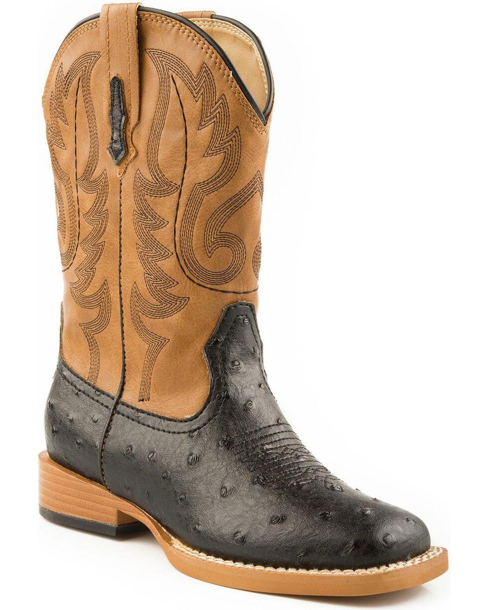 Roper Men's Ostrich Print Western Boots, Black, hi-res