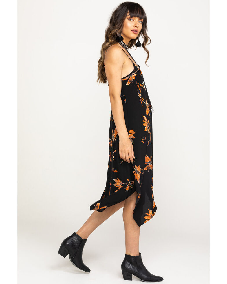 Nikki Erin Women's Black Tropical Floral Hanky Slip Dress, Black, hi-res