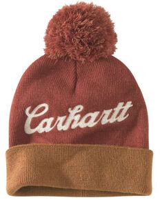 Carhartt Women's Chainstitch Lookout Pom Work Hat , Brown, hi-res