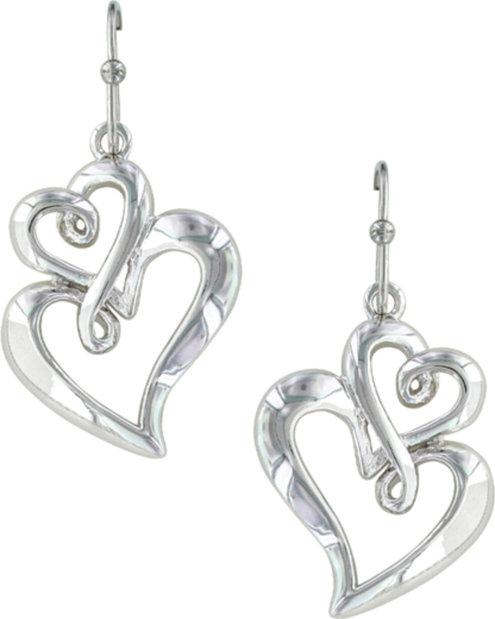 Montana Silversmiths Women's Infinite Love Heart Earrings  , Silver, hi-res