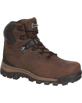 Rocky Core Waterproof Hiker Work Boots - Round Toe, Brown, hi-res